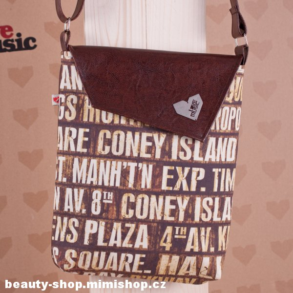 Lovemusic Hnědá crossbody taška - kabelka Dafné Brooklyn Love Music > varianta hnědá - Brooklyn, New York > 26 x 31cm