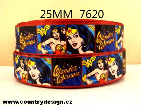 Rypsová stuha : Cartoon > varianta Wonder Woman > 25 mm