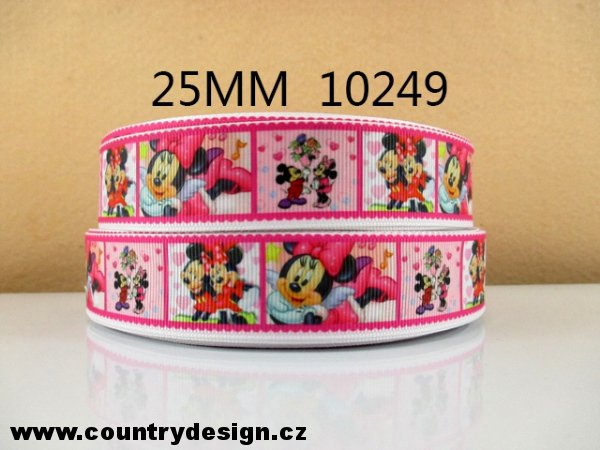 Rypsová stuha : Mickey Minnie Mouse > varianta 18 > 25 mm