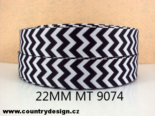 Rypsová stuha : Chevron > varianta Black > 22 mm