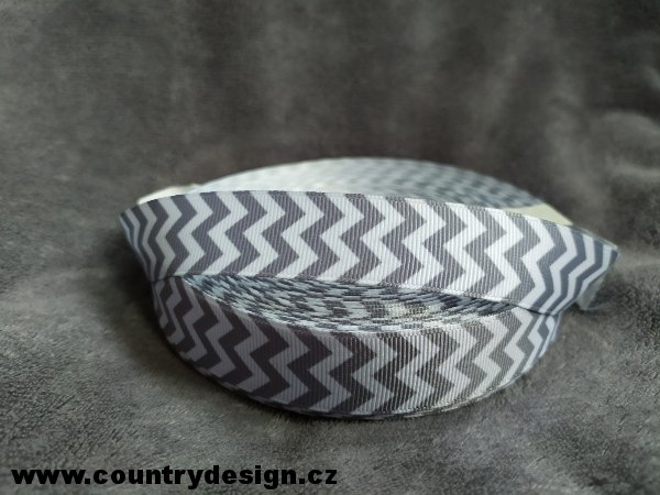 Rypsová stuha : Chevron > varianta Dark Grey > 22 mm