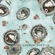 Látka QT Mirabelle lost and found and curiosity lt teal 122342