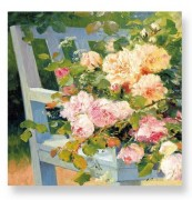 Ubrousek s dekorem - FLOWERS ON BENCH