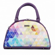 Dara Bags elegantní kabelka do ruky Art Deco Bell No. 145 Triangels violet-multicolor