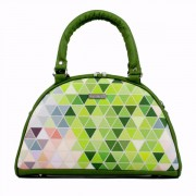 Dara Bags elegantní kabelka do ruky Art Deco Bell No. 147 Triangels green-multicolor