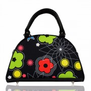 Dara Bags elegantní kabelka do ruky Art Deco Bell No. 17 Flowers green