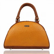 Dara Bags elegantní kabelka do ruky Art Deco Bell No. 111 LUXURY Brown Orange