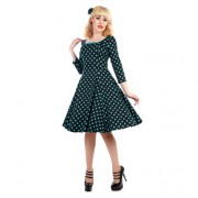 Šaty Collectif Willow Black Teal Polka