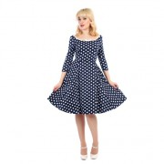 Šaty Collectif Willow Navy White Polka
