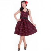 Retro Šaty Dolly and Dotty Sophie Black and Red Polka