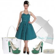 Retro šaty Dolly and Dotty Sophie Turquoise Polka