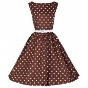 Retro šaty Lindy Bop Audrey Chocolate Polka