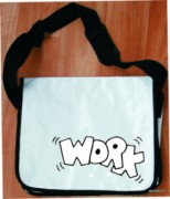 Messenger bag - white - text