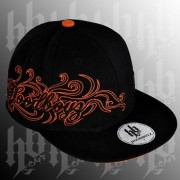 Hip hop kšiltovka tattoo black/orange