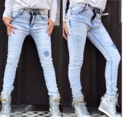 ELASTICKÉ RIFLE JEANS LIGHT BLUE DENIM