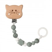 klip Lässig Soother Holder Wood/Silicone Little Chums cat