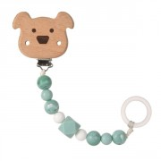 klip Lässig Soother Holder Wood/Silicone Little Chums dog