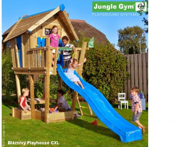 Terasa XL k domečku Jungle Gym Crazy Playhouse > varianta skluzavka 265cm žlutá