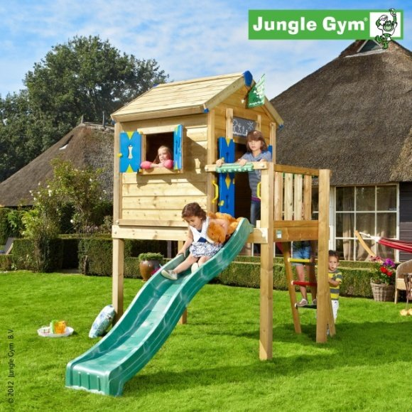 TERASA L K DOMEČKU JUNGLE GYM PLAYHOUSE > varianta skluzavka žlutá 220cm > JUNGLE GYM