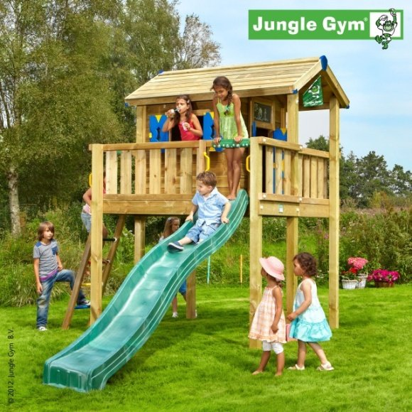 TERASA XL K DOMEČKU JUNGLE GYM PLAYHOUSE > varianta skluzavka žlutá 265cm > JUNGLE GYM