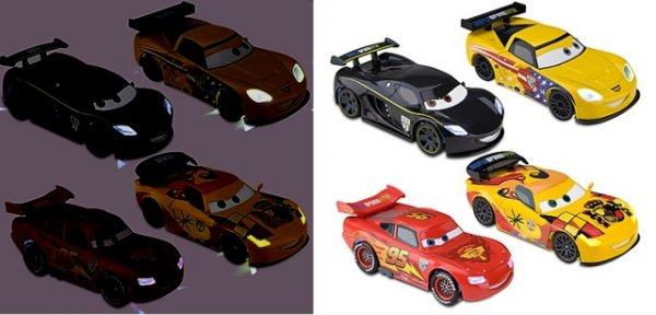 CARS 2 (Auta 2) - 4pack We Light-Up II - Lightning McQueen + Lewis + Miguel + Jeff