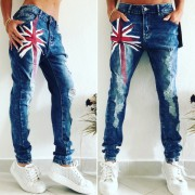 BOMBA RIFLE JEANS TRHANÝ DESIGN REDFLAG